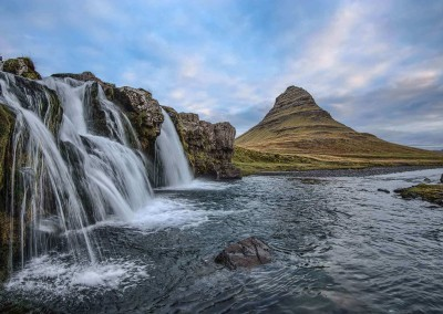 Iceland-Waterfall-and-Mountain