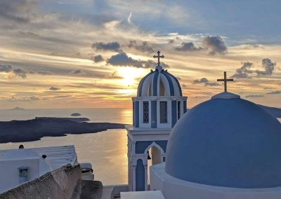 Church Blue Dome - Santorini at Sunset